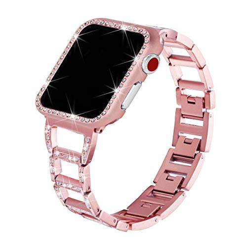 Watch Case Rhinestone (for Apple Watch Bands with Rhinestone Protective Cover, Bling Handiness Replacement Wristband for Apple Watch iWatch Series 3, Series 2, Series 1, Nike+ Sport Edition,for Women M (Rose Gold, 38mm))