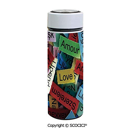 SCOCICI Stainless Steel Travel Mug Insulated 17.5 oz / 500ml Love Word Cloud Collection in Different Languages French Japanese All Common Coffee Tumbler Cup Flask for Hot & Cold Drinks