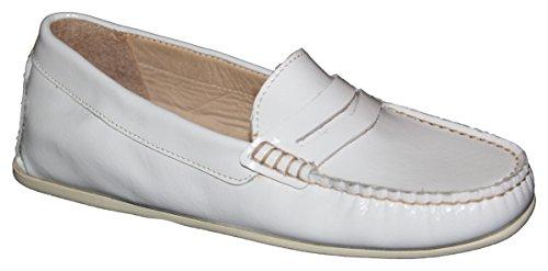 Ability & Style Damen Slipper Mokassins Lackleder Made in Italy Weiß White 8kH4AaN5
