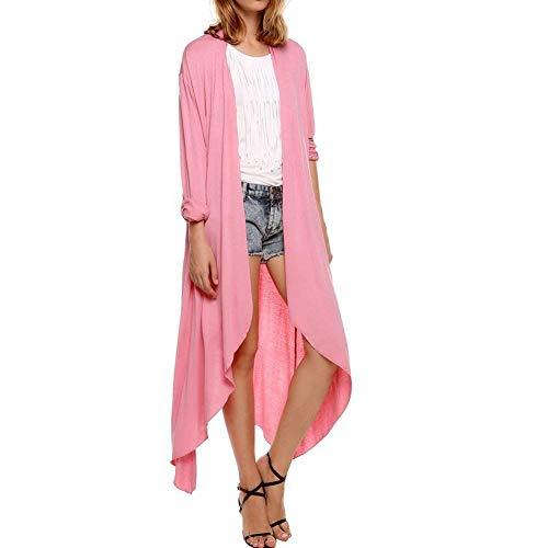 Adelina Mujer Chaqueta De Punto Señora Hipster Ropa Abrigos Otoño Manga Larga Irregular Color Sólido Anchos Y Largas Secciones Abrigo Básicos Chaqueta Pink