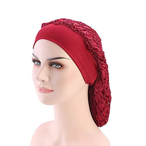 DuoZan Vintage Elastic Wide Band Snood Bonnet Double Layered Hair Net Night Sleep Hat Crocheted Slouchy Beanie (Wine)