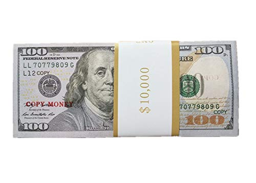 $100X100 Pcs Total $10,000 Dollar COPY MONEY Magic Props Money US Currency Props Advertising & Novelty Real Looking Copy Double-Sided Printing Movie,TV,MV,Videos magic stage performance