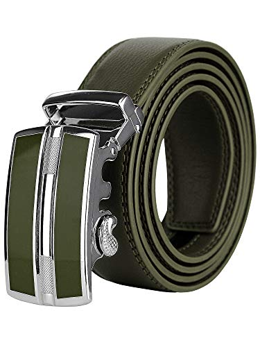 NYFASHION101 Men's Genuine Leather Ratchet Dress Trim to Fit Belt with Automatic Buckle, DS7892, Olive, Large ()