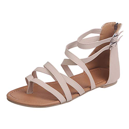 Gladiator Sandals for Women,SMALLE◕‿◕ Women's Casual Open Toe Ankle Sandals Summer Zipper Strappy Thong Flats Shoes Beige