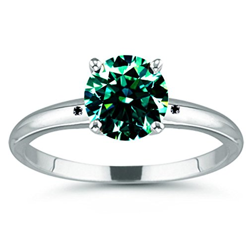 RINGJEWEL Round Moissanite Silver Plated Engagement Ring (Blue Green Color,3.25 Ct,SI1 Clarity,Size 7) by RINGJEWEL