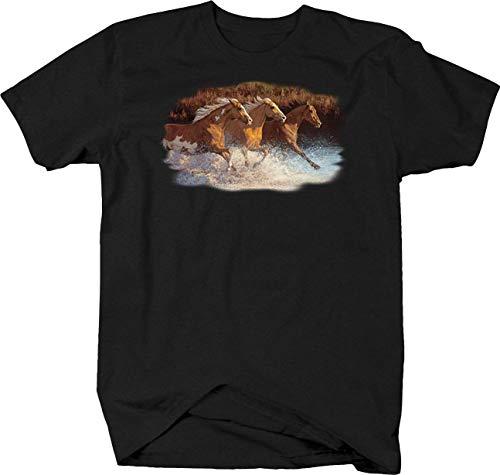 Water Stallion T-shirt - BQM Gear Three Brown Stallion Horse Galloping Through Water Tshirt - 5XL