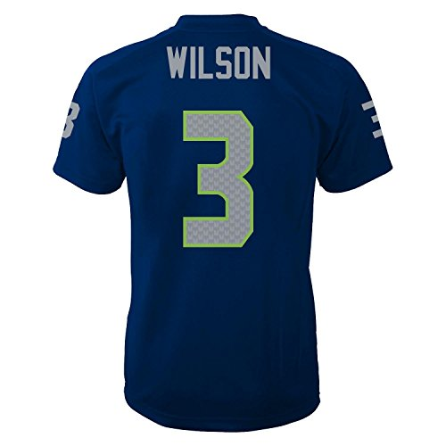 88939bb52 high-quality Russell Wilson Seattle Seahawks Navy Performance Yout h Jersey