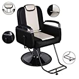 Walcut Reclining Hydraulic Barber Chair Styling Salon Beauty Shampoo Spa Equipment Hair Cutting Black & Beige Color