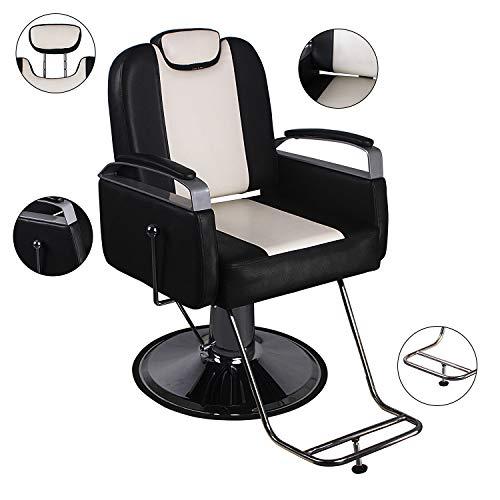 Walcut Reclining Hydraulic Barber Chair Styling Salon Beauty Shampoo Spa Equipment Hair Cutting Black & Beige Color
