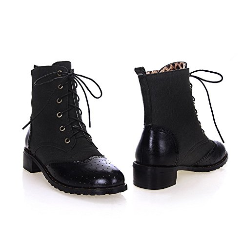 B Low M Black Plush Closed Hollow Denim Heels Boots Colors Womens Short with 7 US Assorted Out Round AmoonyFashion Toe wTqRIIU