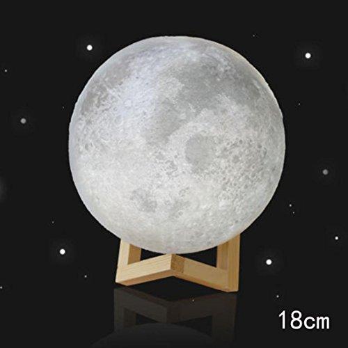 3D Moonlight,Kshion 3D USB LED Magical Moon Night Light Moonlight Table Desk Moon Lamp Gift (18cm)