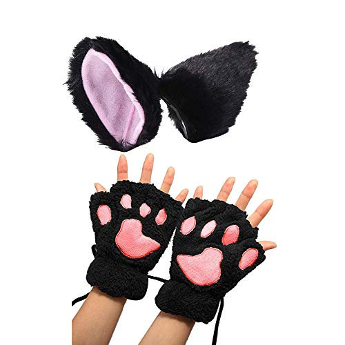 Pavian Halloween Cat Fox Cosplay Costume Kitten Ears Hair Clip Hair Hoop Paws Gloves Anime Lolita Gothic Set for Child or Adult Black]()