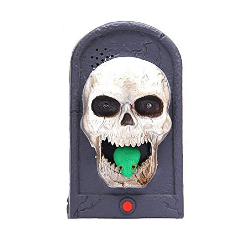 Halloween Witch Doorbell Light Up Talking Scary Sounds for Party Bar Kids Gift Skull OneSize