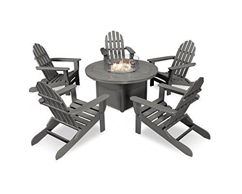 - POLYWOOD Classic Folding Adirondack 6-Piece Conversation Set with Fire Pit Table (Slate Grey)