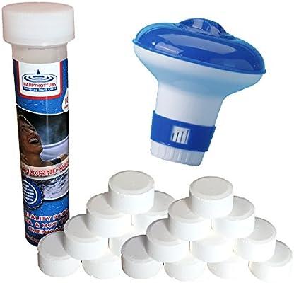 20 g Pastillas de cloro con dispensador Cubos Para Jacuzzi piscina Spa bañera de hidromasaje Happy: Amazon.es: Jardín