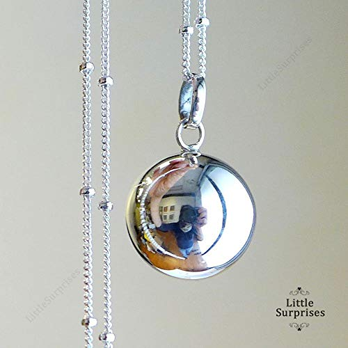 "16mm Relaxation Calming Chime Sound Angel Caller Sterling Silver Harmony Ball 30"" Necklace LS71"