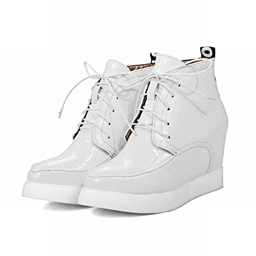 Latasa Womens Spitse Teen Lace Up Enkel Hoge Sleehakken Laarsjes Wit