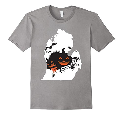 Mens Detroit Michigan Jack O' Lantern - Halloween Pumpkin T Shirt Small Slate - Detroit Halloween Events