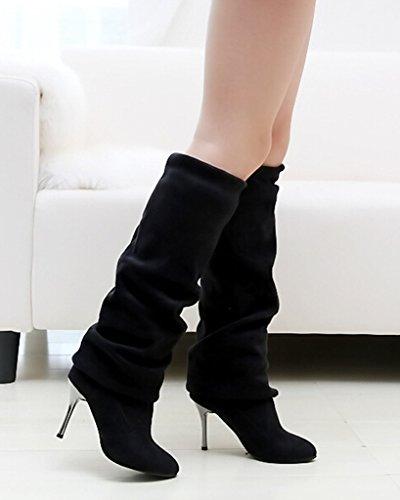 Estiramiento Zapatos Mujer Minetom Sólido Color Alto Tacón Biker Invierno Otoño Largas Botas Botas Botas Negro Rodilla 7wdwPq