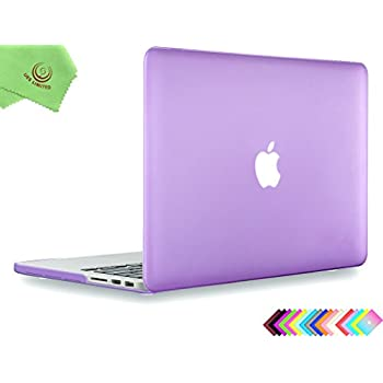 "UESWILL Smooth Touch Matte Hard Case Cover for MacBook Pro 15"" with Retina Display (NO Touch Bar, NO CD-ROM), Model A1398 + Microfibre Cleaning Cloth, Purple"