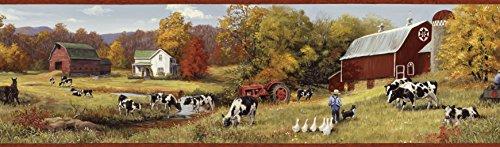 Cow Border - Chesapeake BBC15031B Herman Cow Pasture Portrait Wallpaper Border, Gold