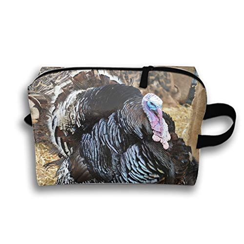 Cosmetic Bag with Zipper Turkey Toiletry/Travel Bag for Brushes Jewelry