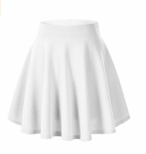 Afibi Girls Casual Mini Stretch Waist Flared Plain Pleated Skater Skirt (Medium, -