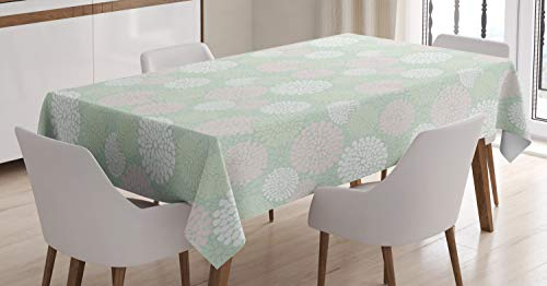 Ambesonne Mint Tablecloth, Dahlia Flowers in Pastel Tones Spring Blooms Theme Floral Pattern, Dining Room Kitchen Rectangular Table Cover, 60″ X 90″, Pale Green