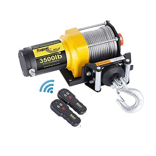 (RUGCEL WINCH Waterproof IP68 Electric Winch with Hawse Fairlead,Steel Wire Rope, 2 Wired Handle and 2 Wireless Remote (3500 lb.Load Capacity))