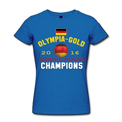 Damen 2016 Rio Fußballfrauen Champion Short-Sleeve T-shirt RoyalBlue XXL