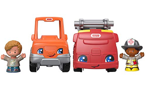Fisher-Price Little People Rescue Fire Truck and Help Friend Pick up Truck Bundle