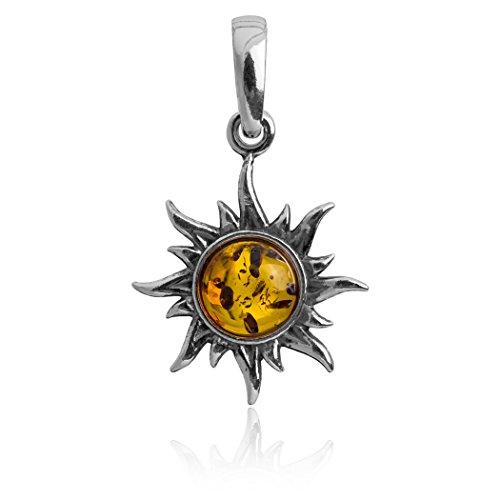 Sterling Silver Amber Sun Pendant ()