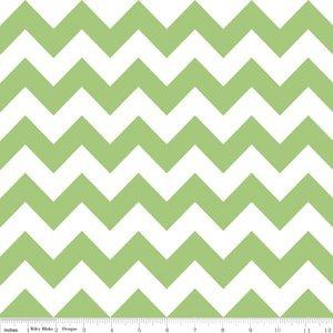 Cotton Medium Green Chevron Striped Green & White Stripes Zigzags Zig Zags Cotton Fabric Print by the Yard (C320-30) -