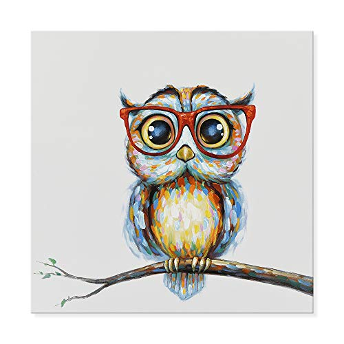 JAPO ART Owl Wall Decor Art Painting - Modern Animal 100% Hand Painted Oil Painting with Stretched Frame for Home Decoration from (24