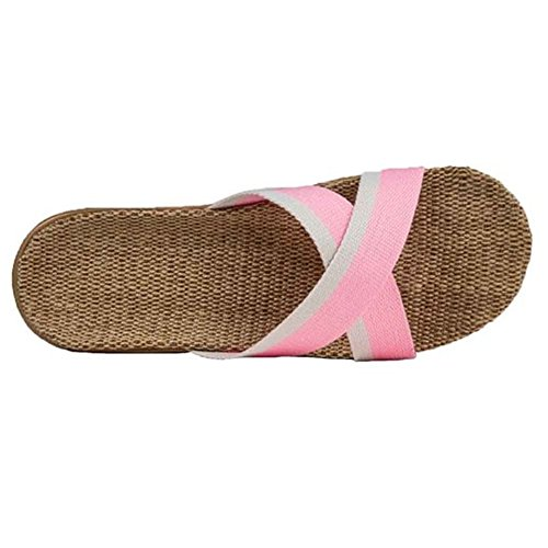 Household Braid Sandal Cozy SAGUARO Non Pink Flax Soft Bathroom slip Slippers House Shower F6nYf0
