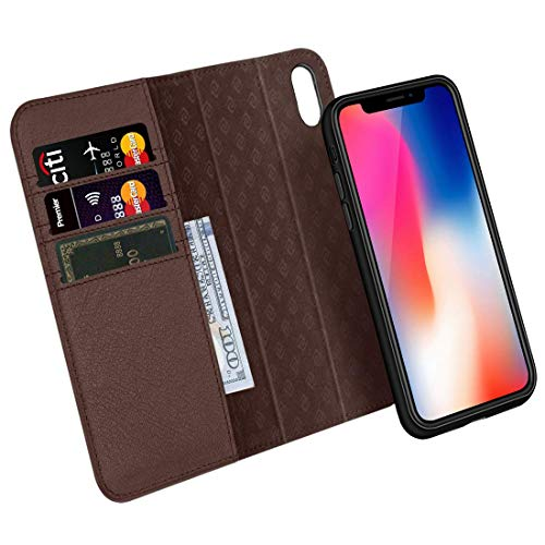 Zover iPhone Xs/X Case Detachable Genuine Leather Wallet Case Support Wireless Charging Magnetic Car Mount Holder Kickstand Feature Magnetic Closure Gift Box Dark Brown