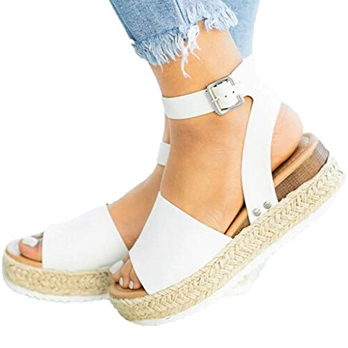ℱLOVESOOℱ Women Sandals Summer Espadrilles Trim Rubber Sole Studded Flatform Wedge Buckle Ankle Strap Open Toe Sandals Shoes White