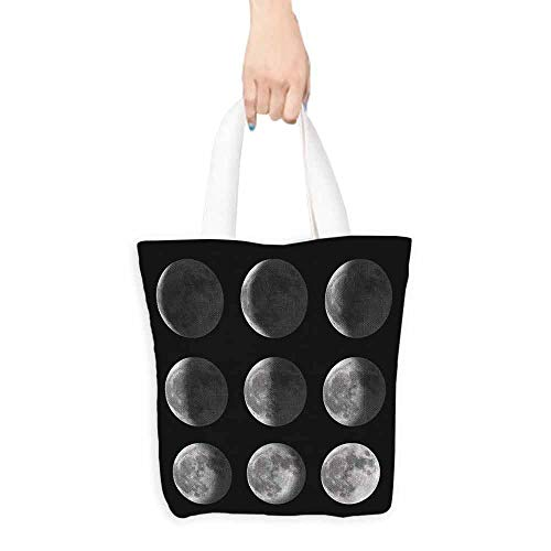 Washable tote,Moon Phases Moon Satellite Orbit,Canvas Grocery Shopping Bags,16.5