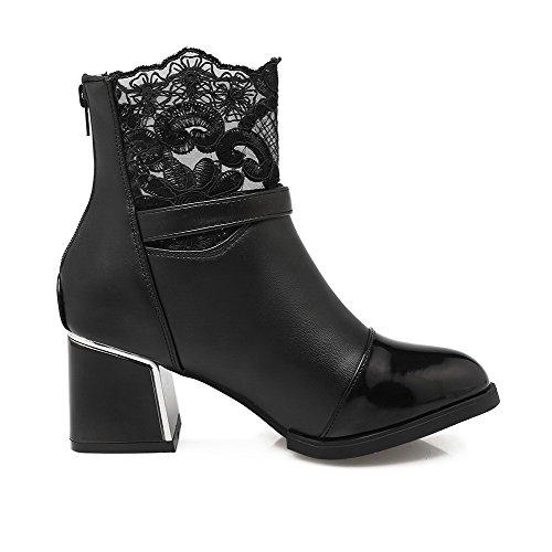 AgooLar Damen Reißverschluss Mittler Absatz Rein Niedrig-Spitze Stiefel mit Schnalle, Weiß, 36