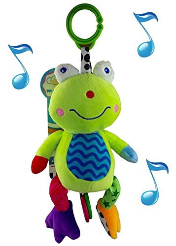 Infant Musical Diapers - Wingingkids Crib Mobile Plush Bed Bell - Musical Baby Hanging Animal Toy ¨C Soft Stuffed Frog with Baby Songs and Click Clack Rings ¨C Easily links to Crib, Car Seats, Strollers and Diaper Bags