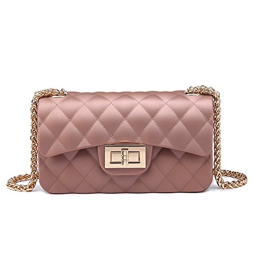 GMYANDJB Shoulder Bags Hot Summer Mini Jelly Bags Colors Metal ChaBelt Message Bags Small Purse Baguette PVC Quilted Handbag Gift - Rose Gold 17