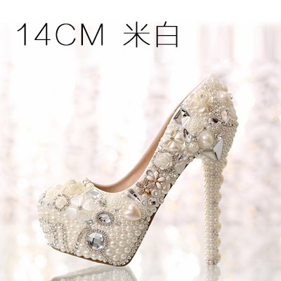 14Cm Shoes Shoes Super Pure Shoes VIVIOO White Waterproof Customized Sandals 7 5 Red High Pearl Heeled Beige Prom Crystal Beige Higher Diamond Wedding Heel Pink Women qf1fER