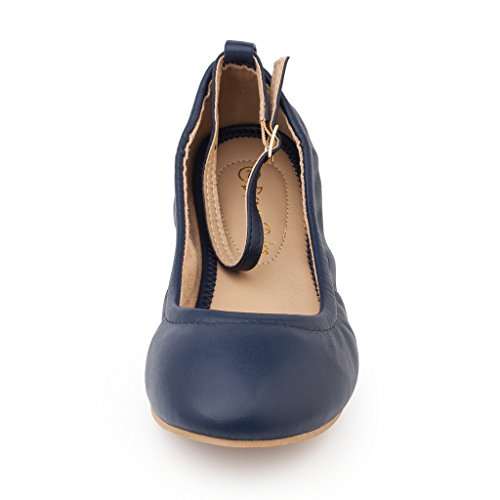 Dream Pair Womens Sole-fina-cinturini Alla Caviglia Cinturini Ballerine Blu Scuro