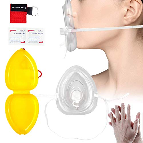 Defler CPR Rescue Mask, Adult/Child Pocket Resuscitator, Hard Case with Wrist Strap Include 1 CPR Mask Keychain Ring and Disposable Glove ()