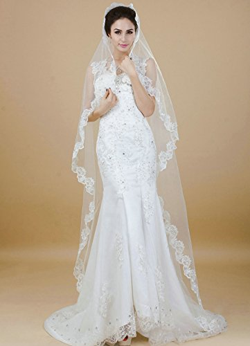 - Aukmla Vintage Wedding Veil with Lace Edge for Bride, Bridal Veil for Women (White)