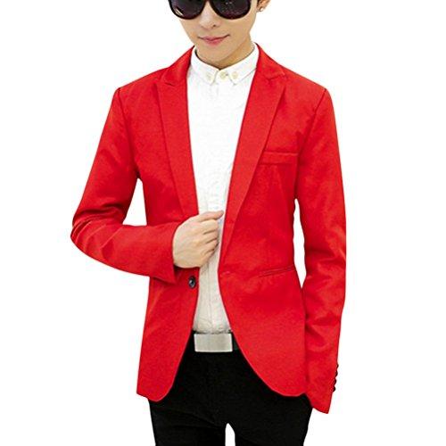 Renchcoat Ghope Veste Manches À Court Boutonnage Homme Manteau Col Garçons Longues Rouge Simple Costume arRq0a