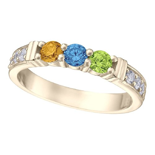 NANA Shared Prong w/side stones Mothers Ring 1 to 6 Stones 14k Yellow Gold - Size 7