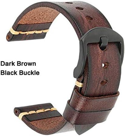 TGBZ ユニバーサル時計手作り時計バンド20ミリメートル21ミリメートル22ミリメートル23ミリメートル24ミリメートルレザー腕時計バンド (Band Color : DarkBrown Black, Band Width : 20mm)