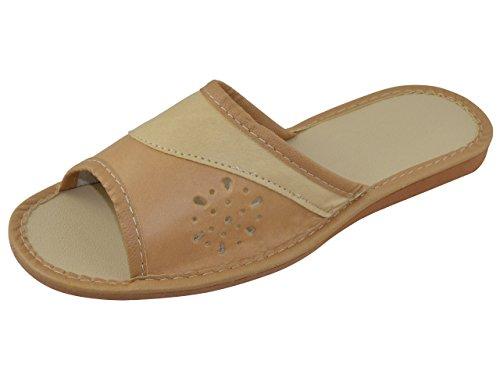 Piel auténtica elegante señoras de las mujeres zapatillas, chanclas TP-W-12