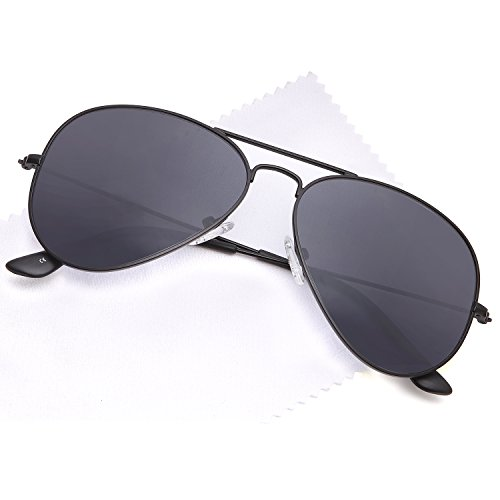 JETPAL Premium Classic Aviator Sunglasses w Flash Mirror and Polarized Lens Options UV400 (Polarized Grey Lens Black - Sunglasses Premium